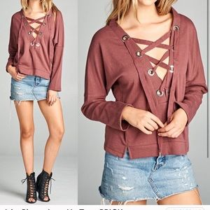 Active USA Front Lace Up Sweater
